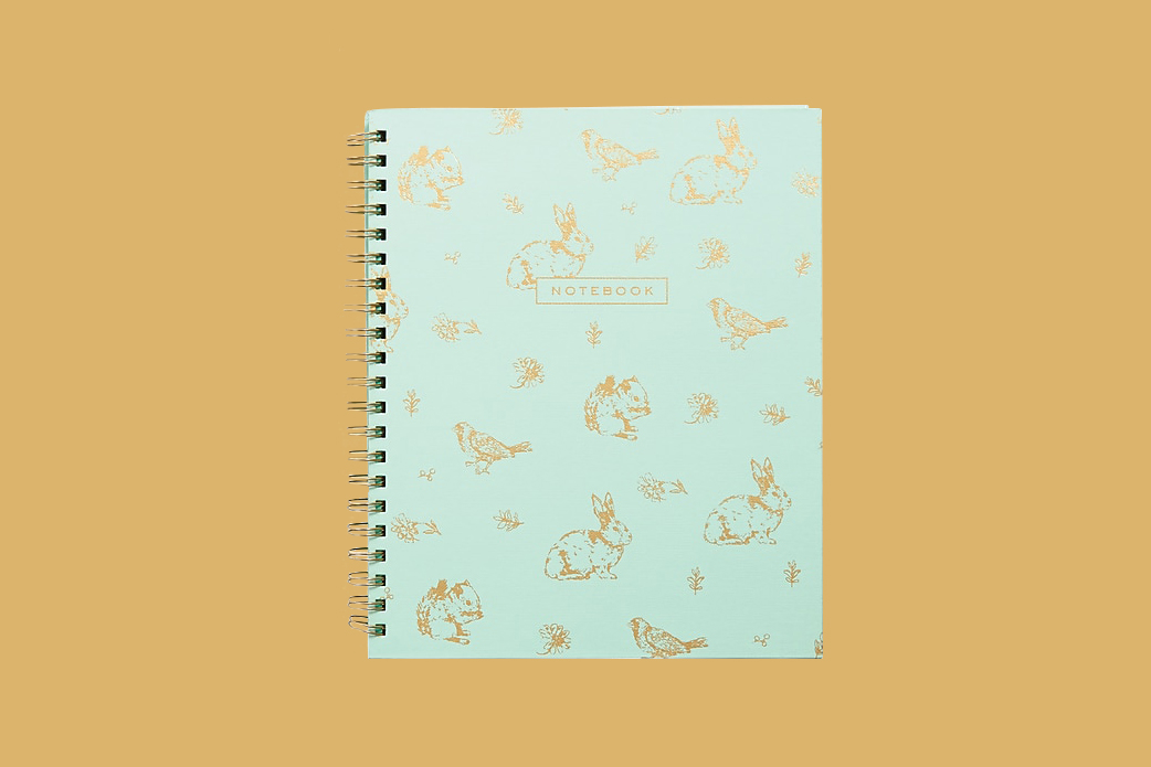 notebook with bunnies and birds