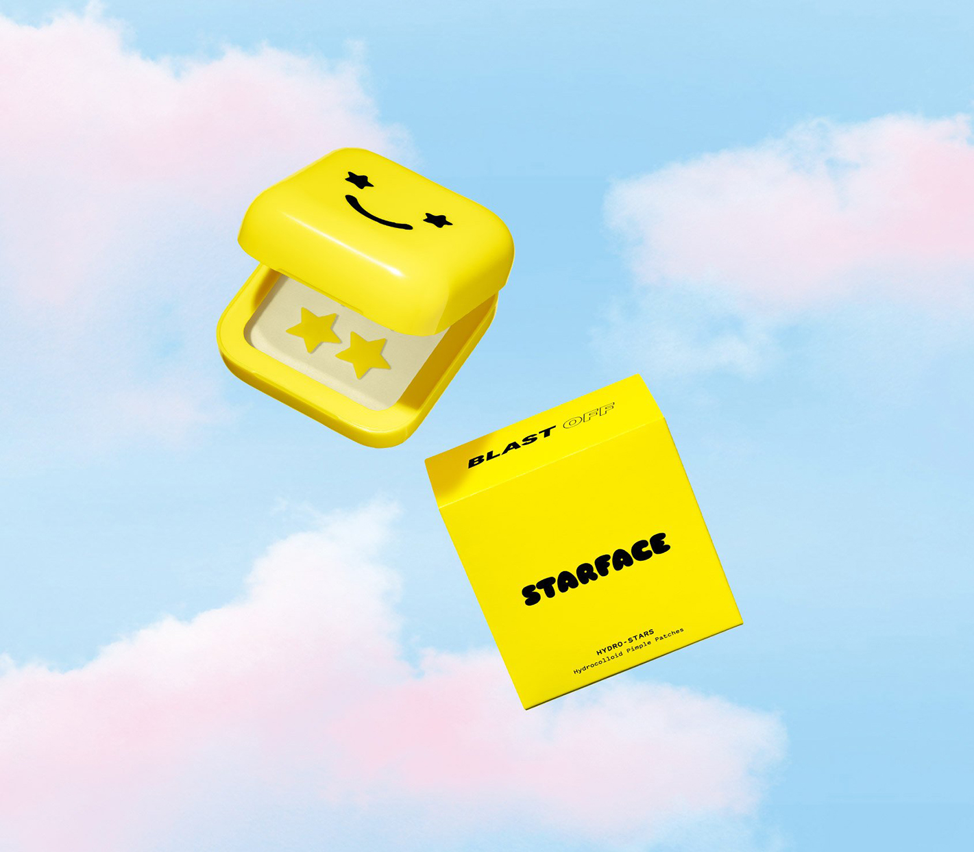 yellow container with star pimple patches