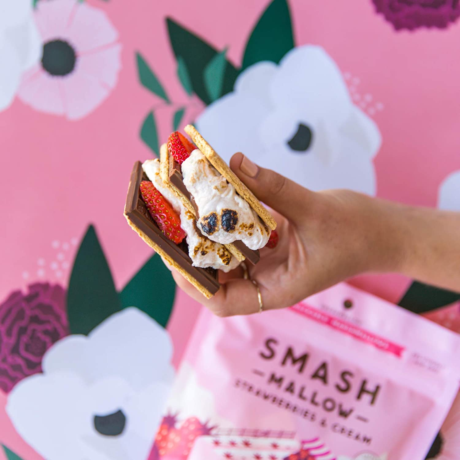 Smash Mallow Strawberries and Cream Snackable Marshmallows