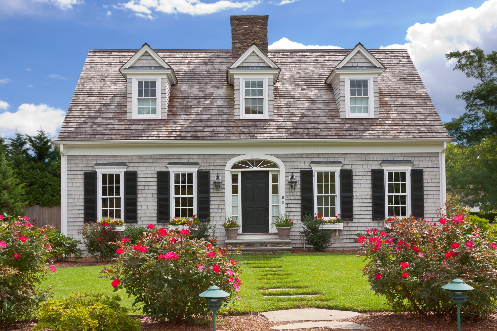 Home Exterior on Cape Cod with Flowers