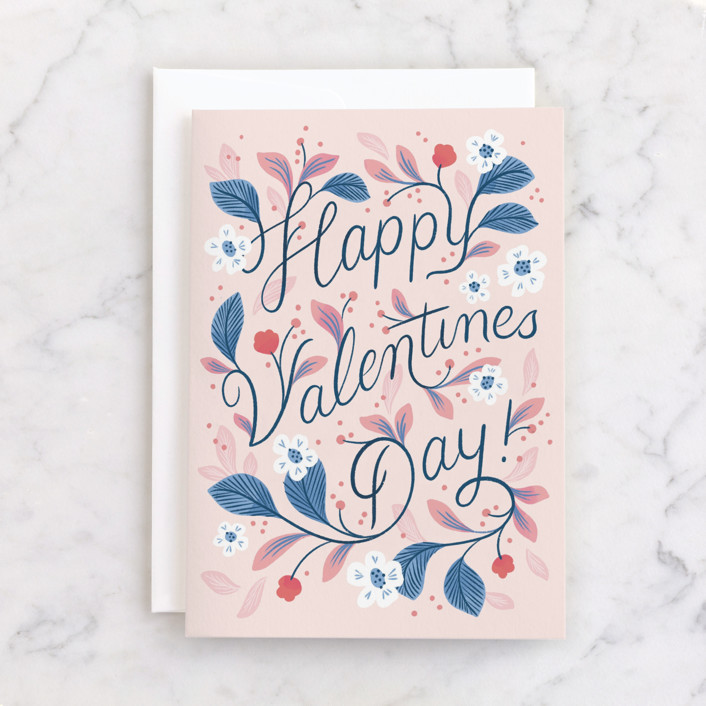 floral and fauna pictured on a vintage-style Valentine's Day card
