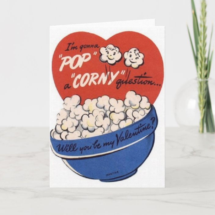 bowl of popcorn pictured on a vintage-style Valentine's Day card