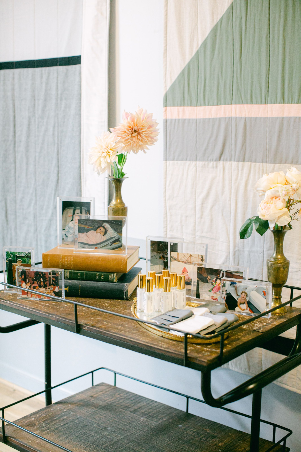 wedding cart with masks, hand sanitizers and commemorative photos