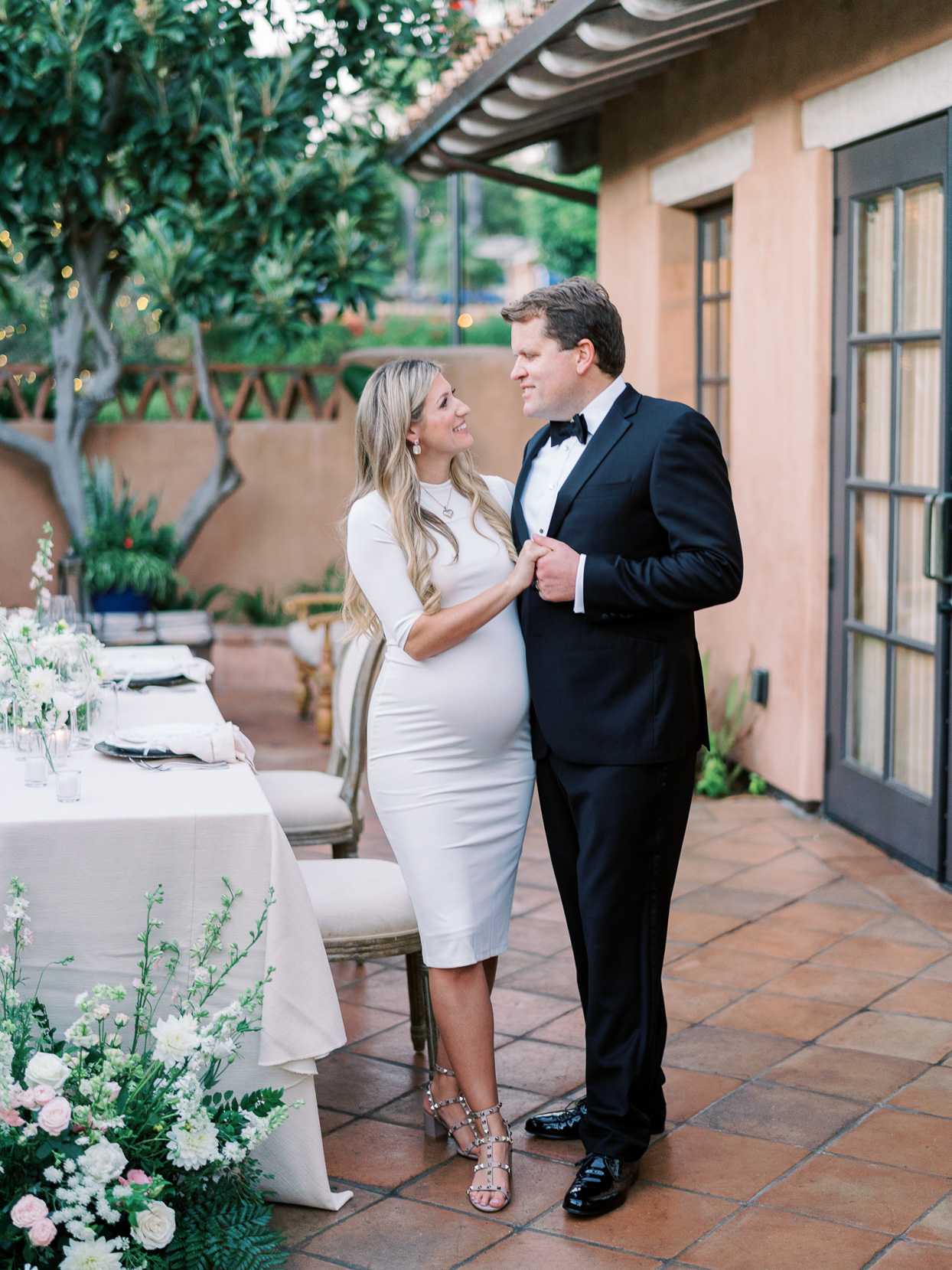 couple portrait on patio for second look