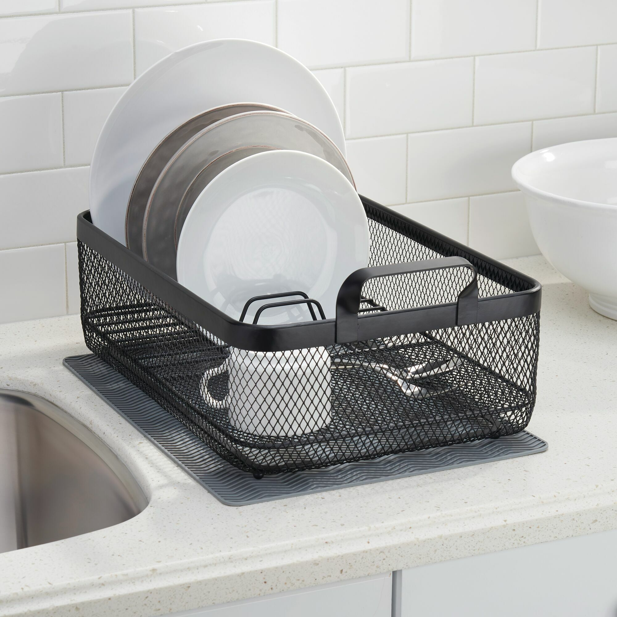 black wire dish drainer with handles