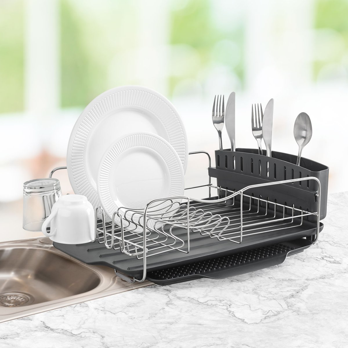 dish drainer with silverware caddy and drip tray
