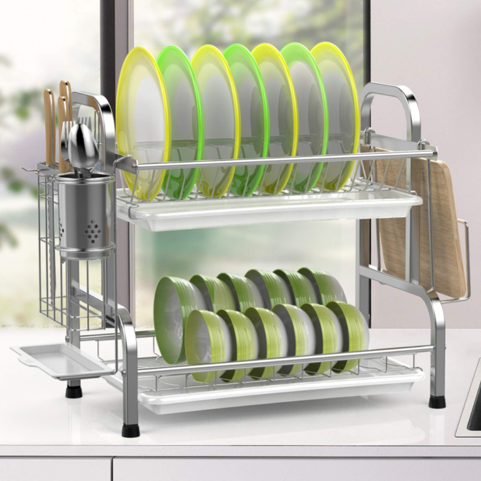 two-tier dish drainer with dishes