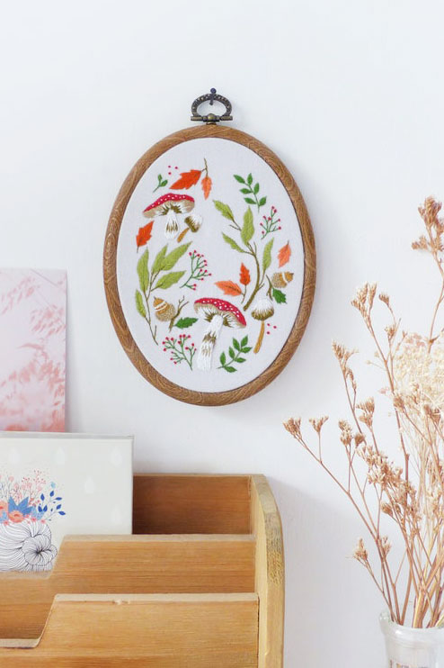 botanical leaves embroidery