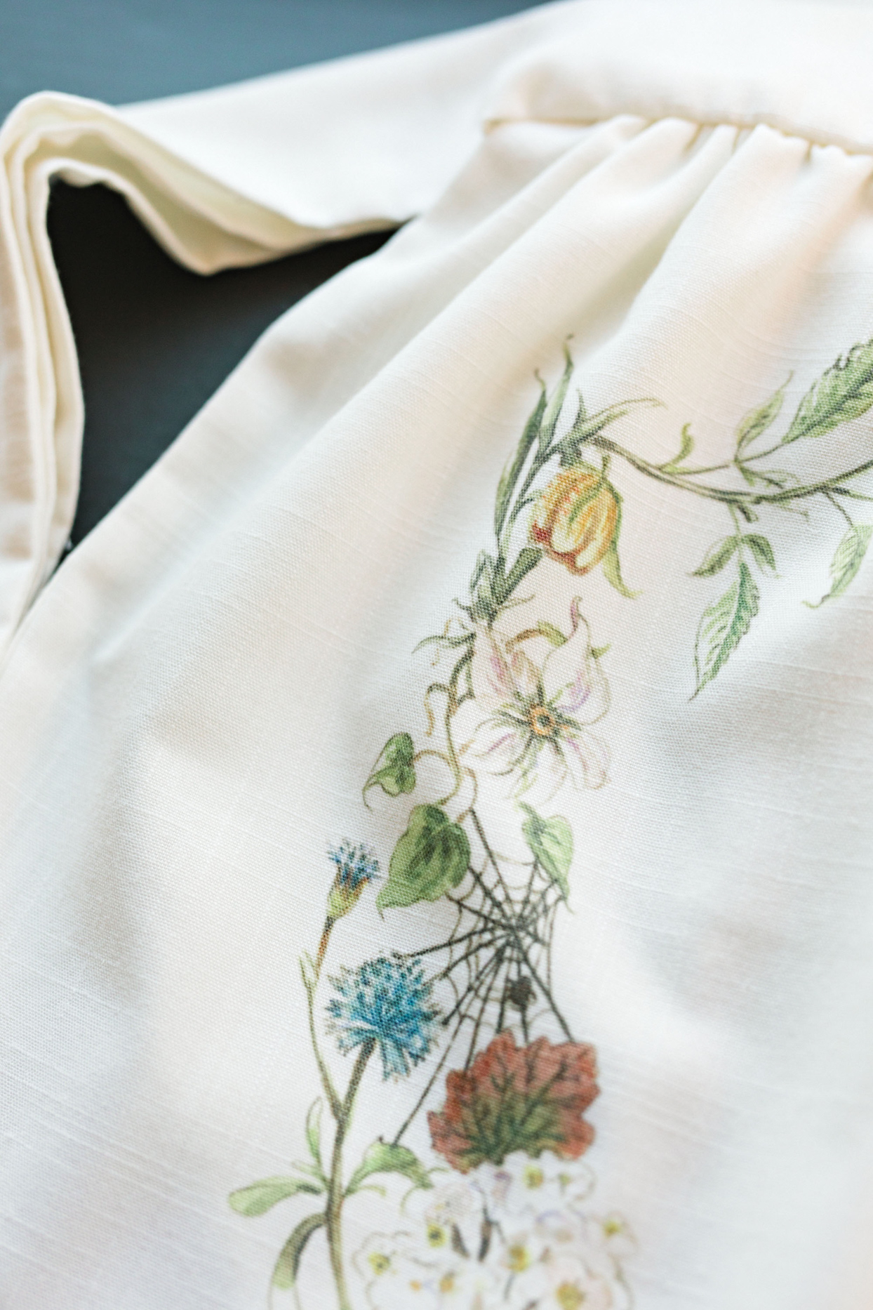 floral and garden themed ornate bridal dress detail