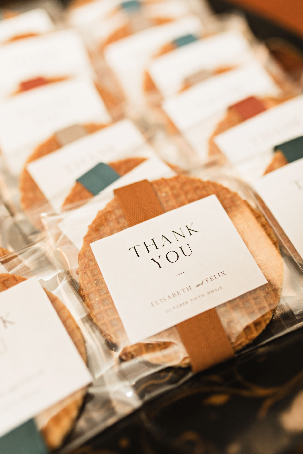 waffle cookie wedding favors
