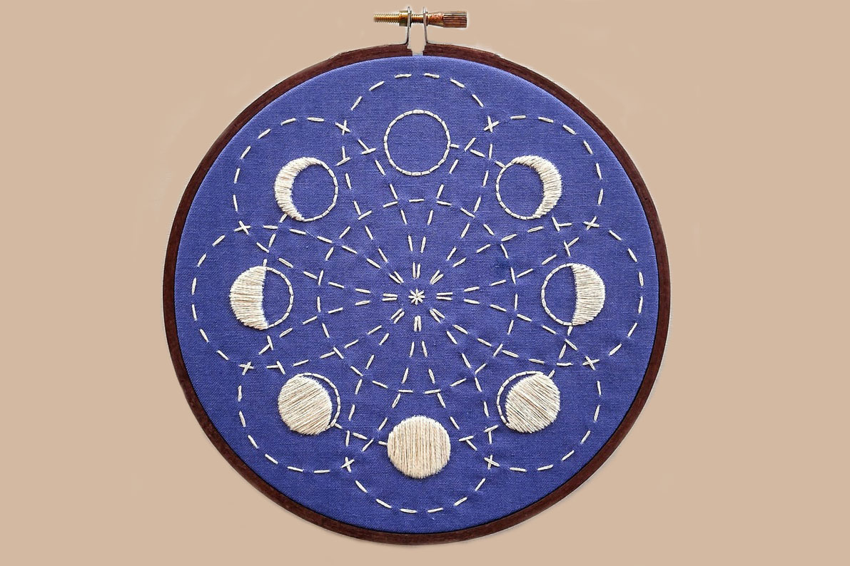 phases of moon embroidery