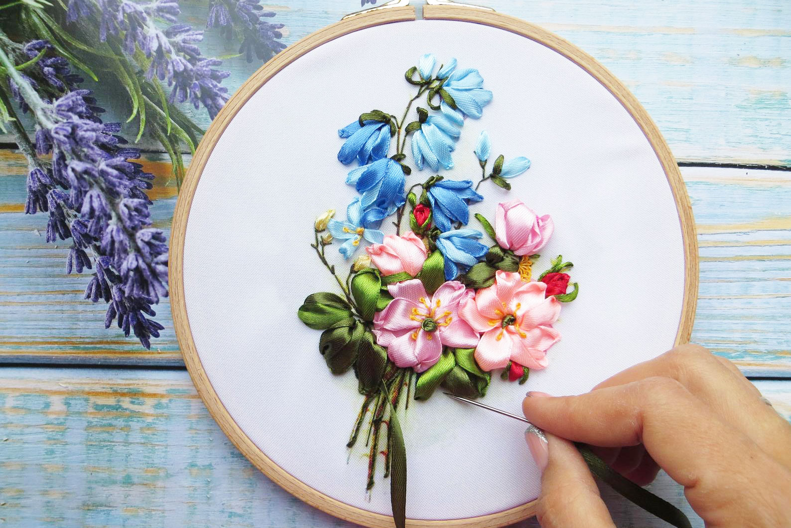 pink rose and bluebells silk embroidery