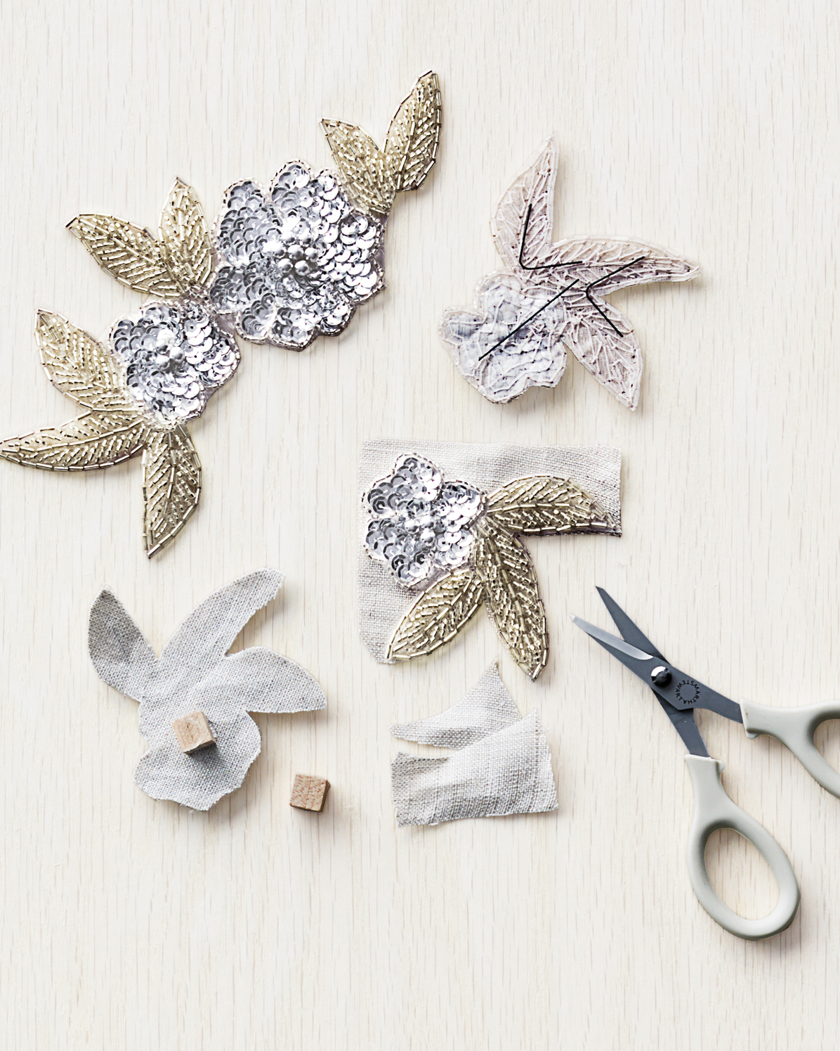 silver sequined floral applique patches