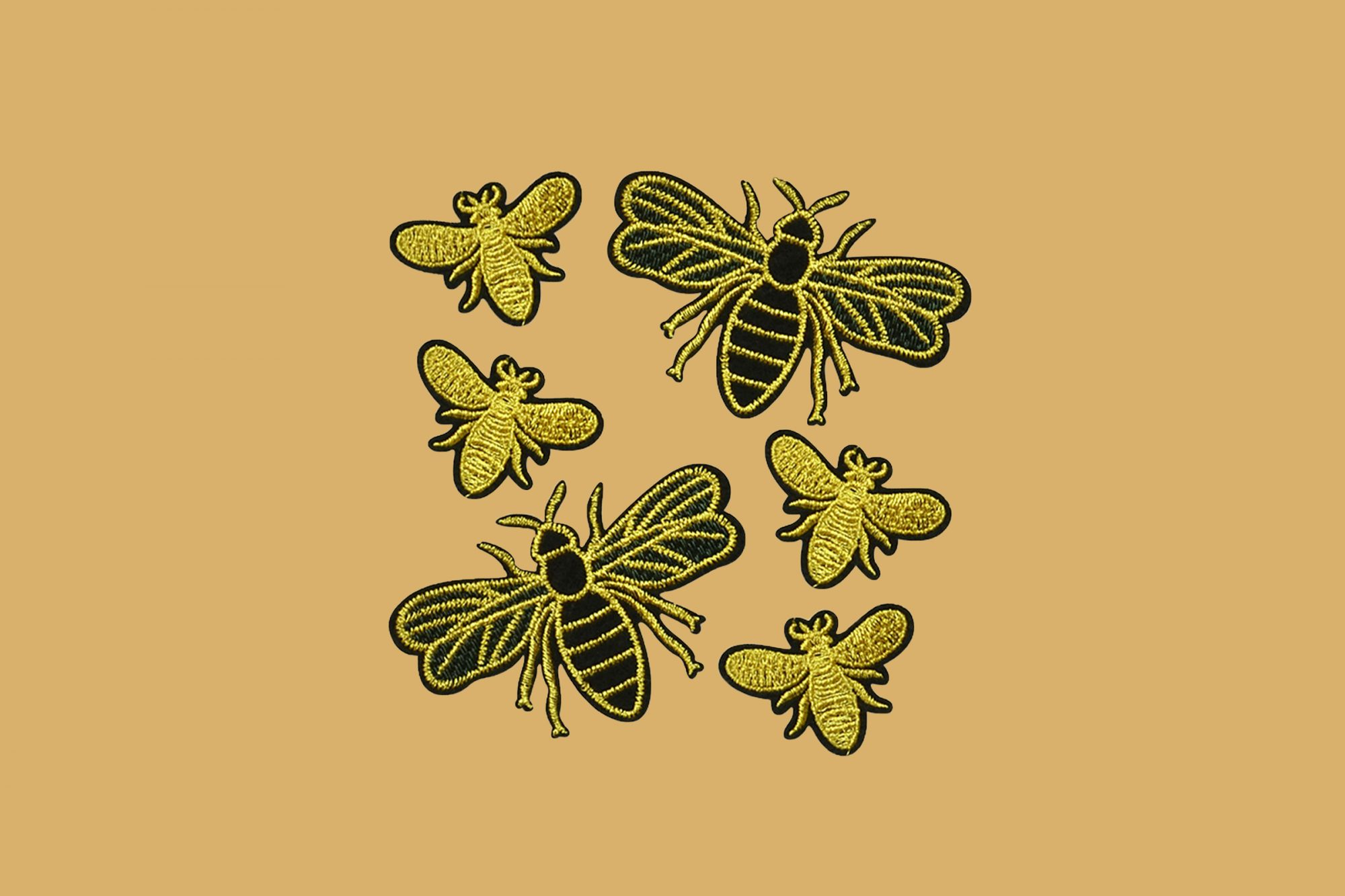trims by the yard busy bees embroidered iron-on patches