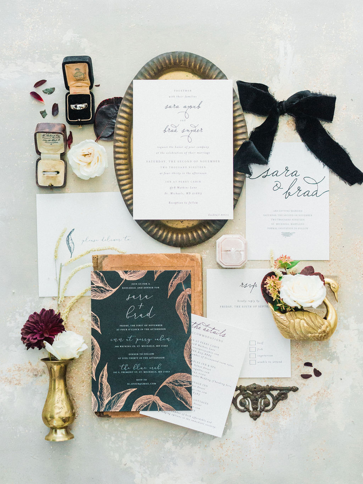 wedding suite with floral accents and wedding bands