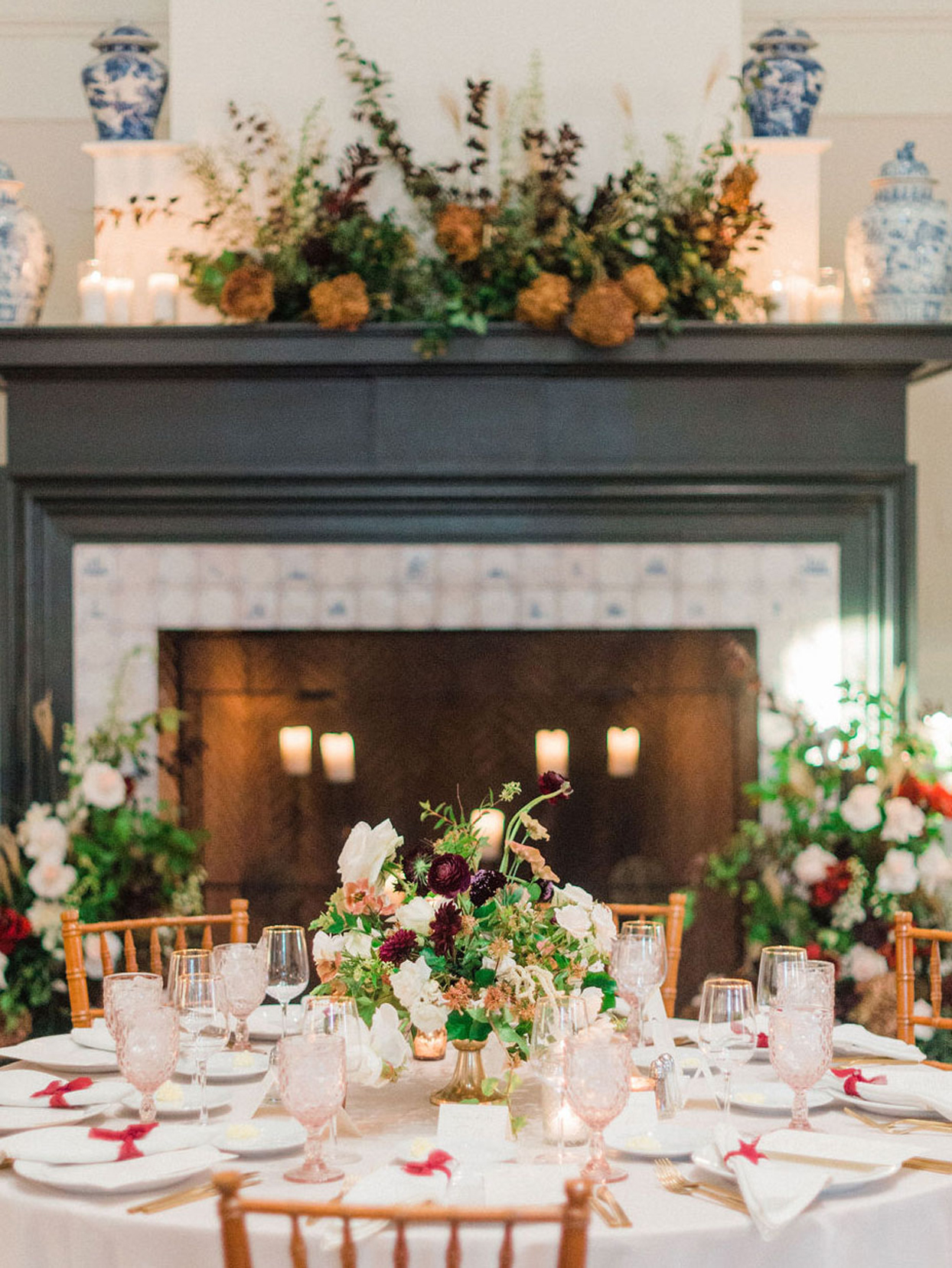 round table with floral table setting