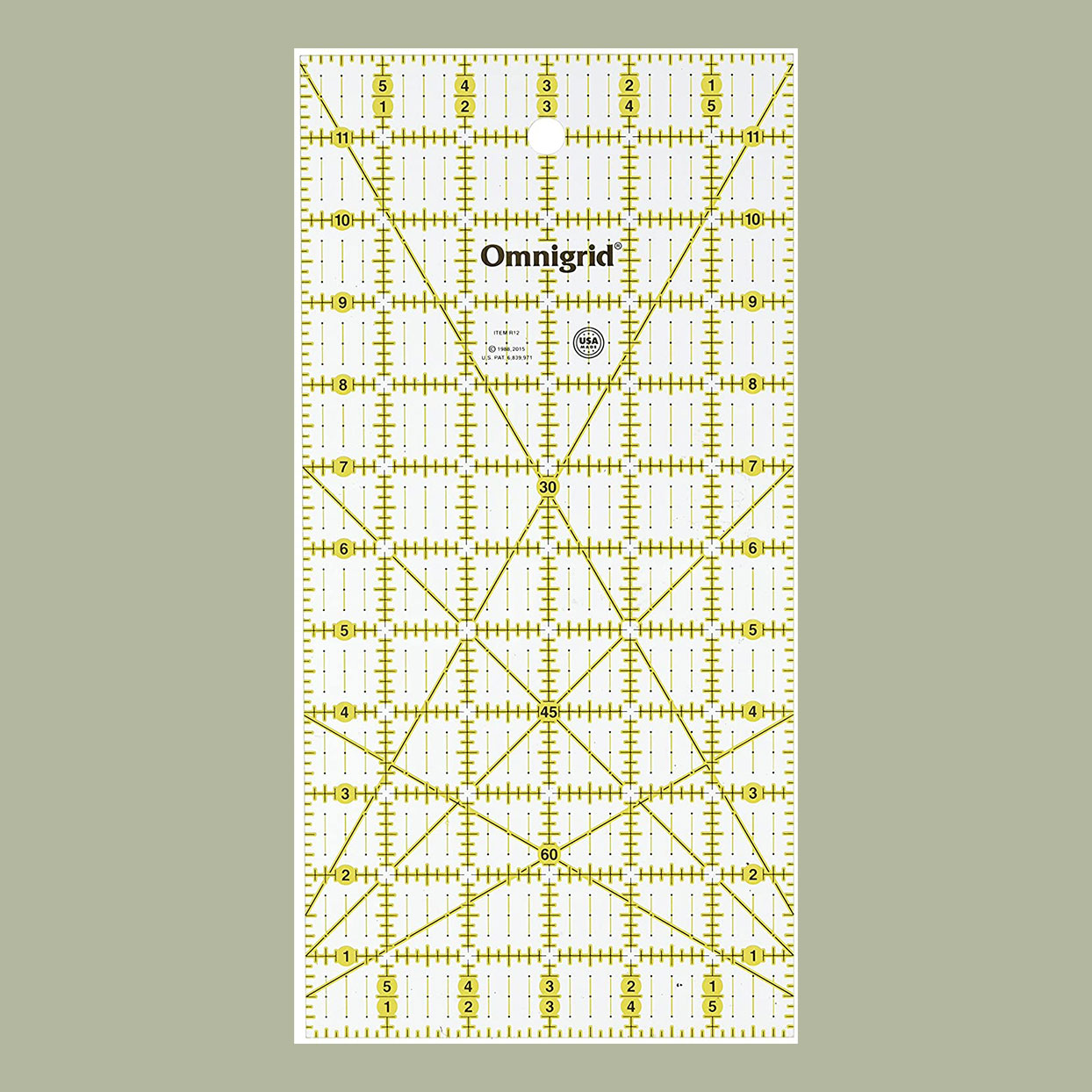 yellow and white rectangle quilters ruler