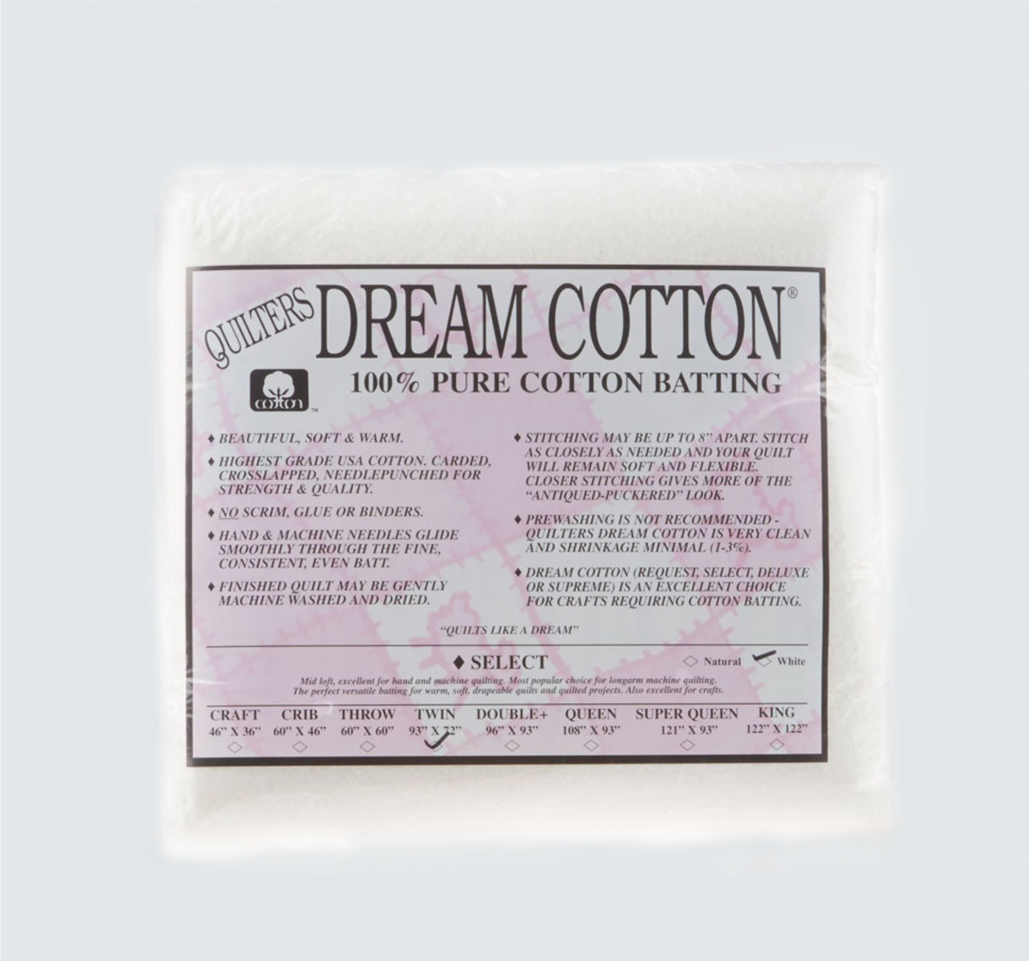 quilters pure cotton batting package