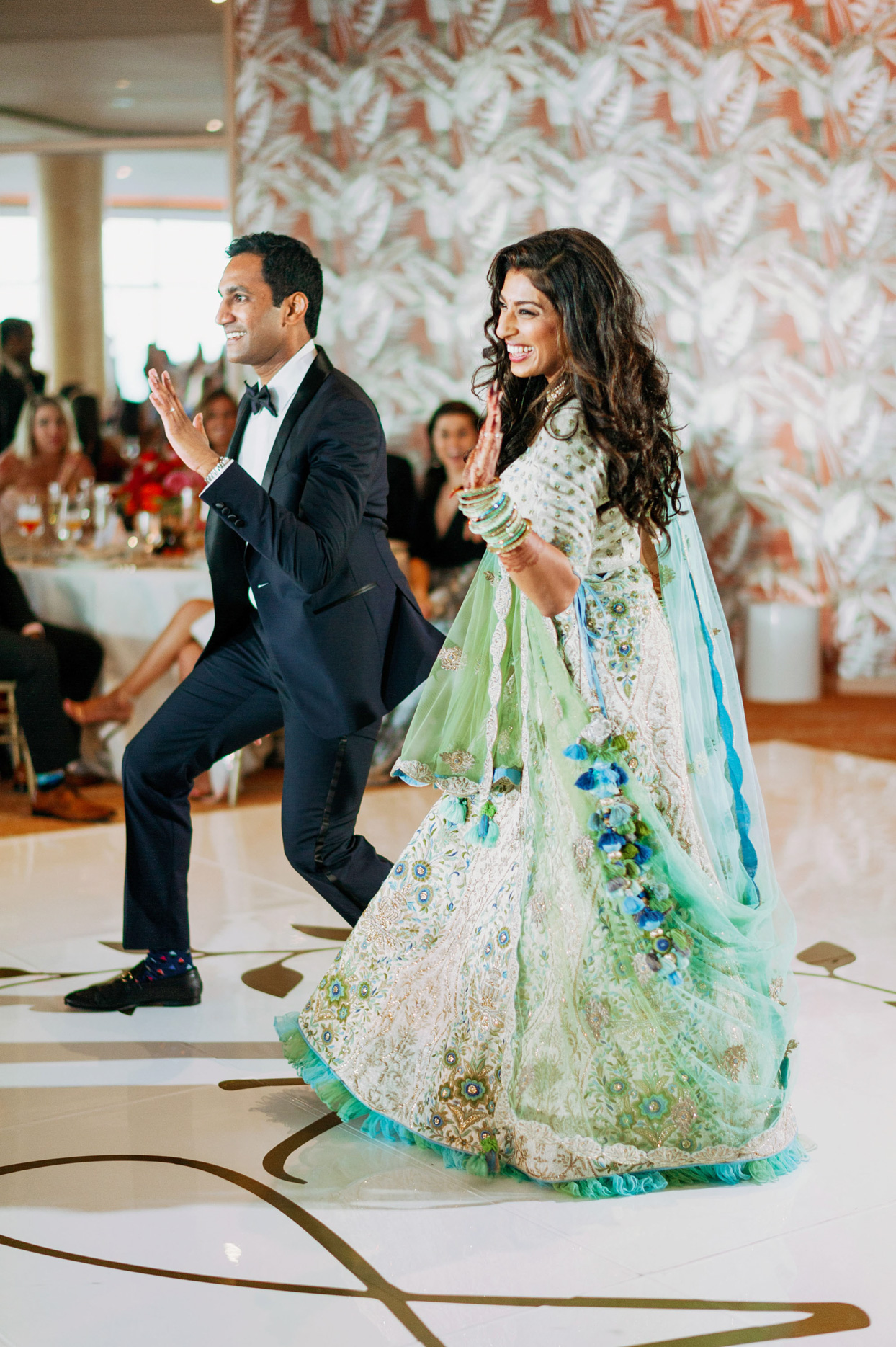 Bride and groom doing dance together