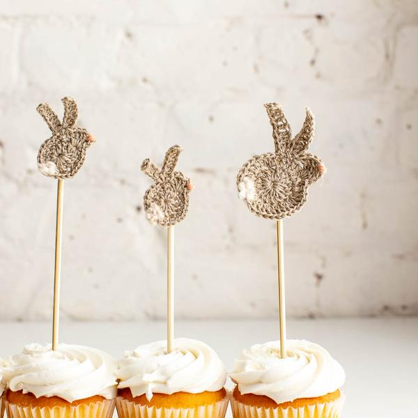 crocheted bunny toppers for cupcakes