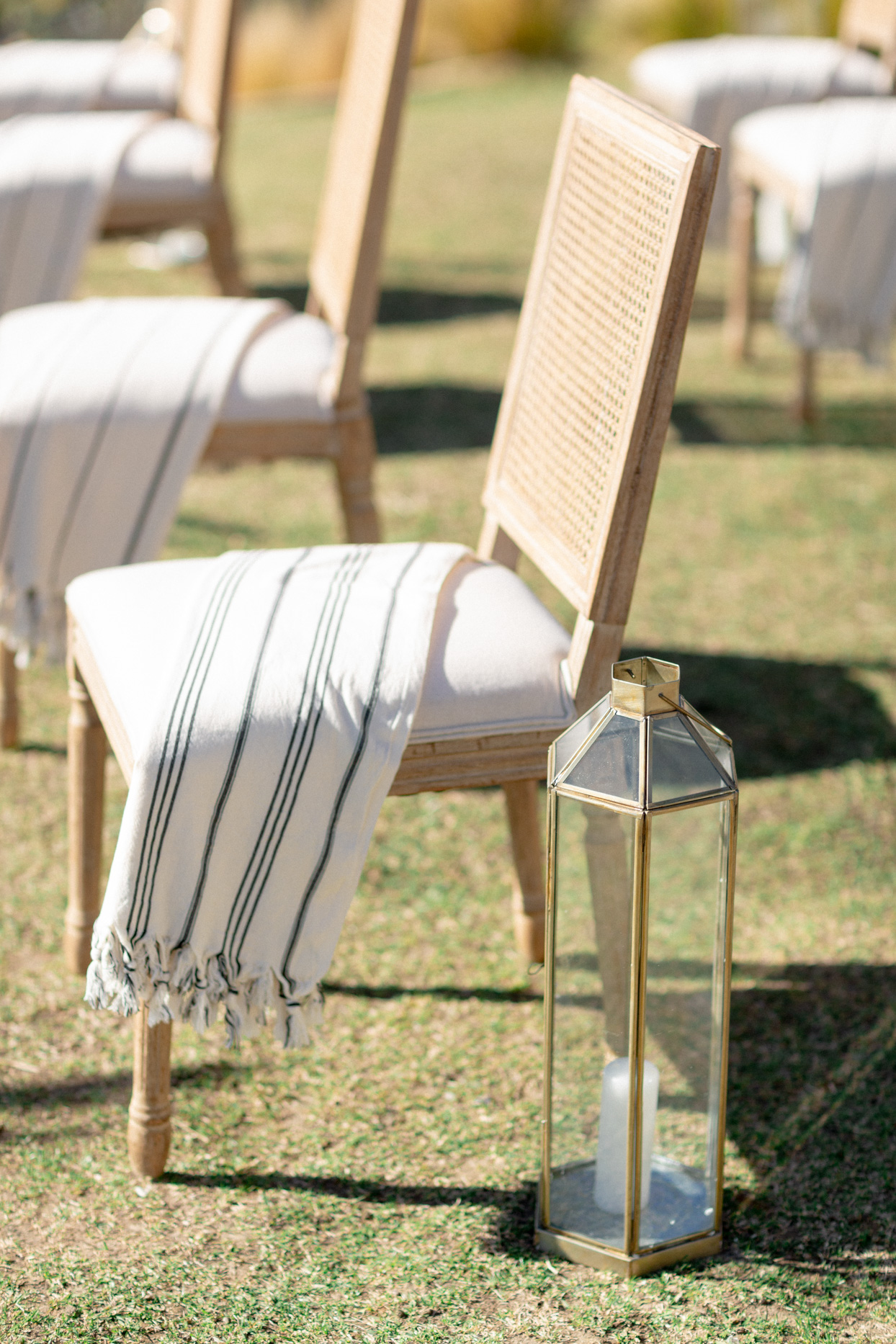 wedding seats with throw blankets outside