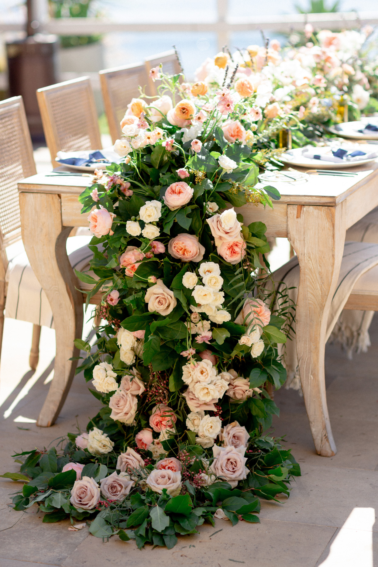 large greenery and pink floral table runner