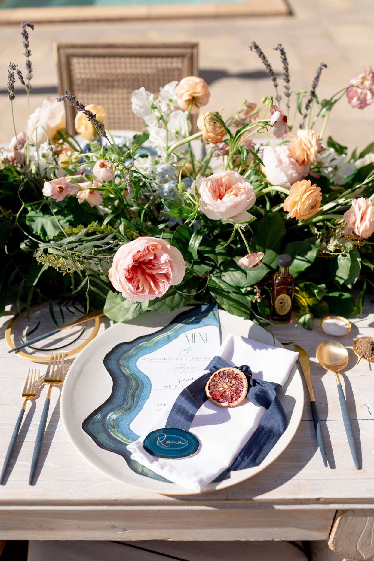 blue accented table settings