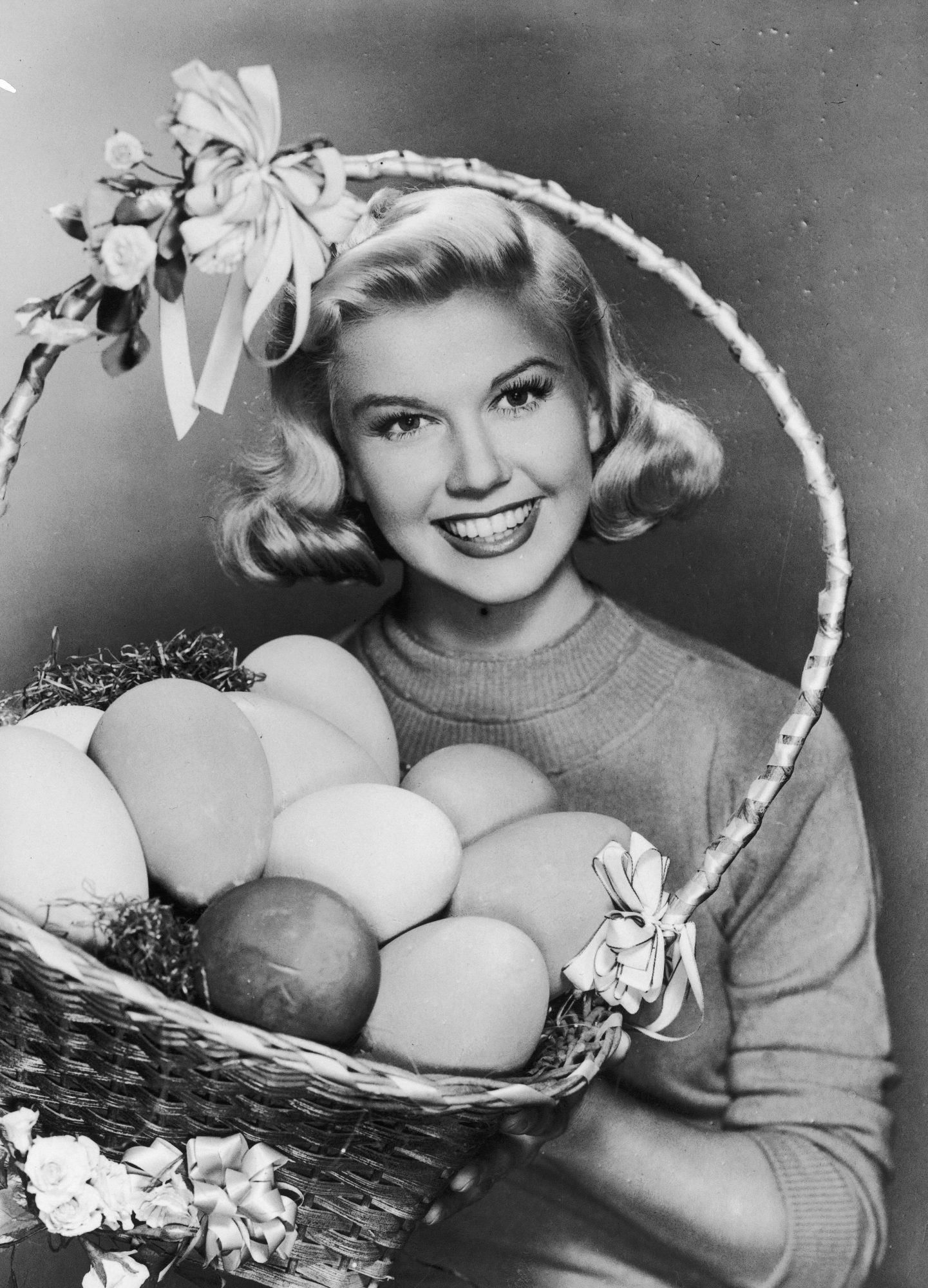 Actress Doris Day And An Eater Eggs Basket