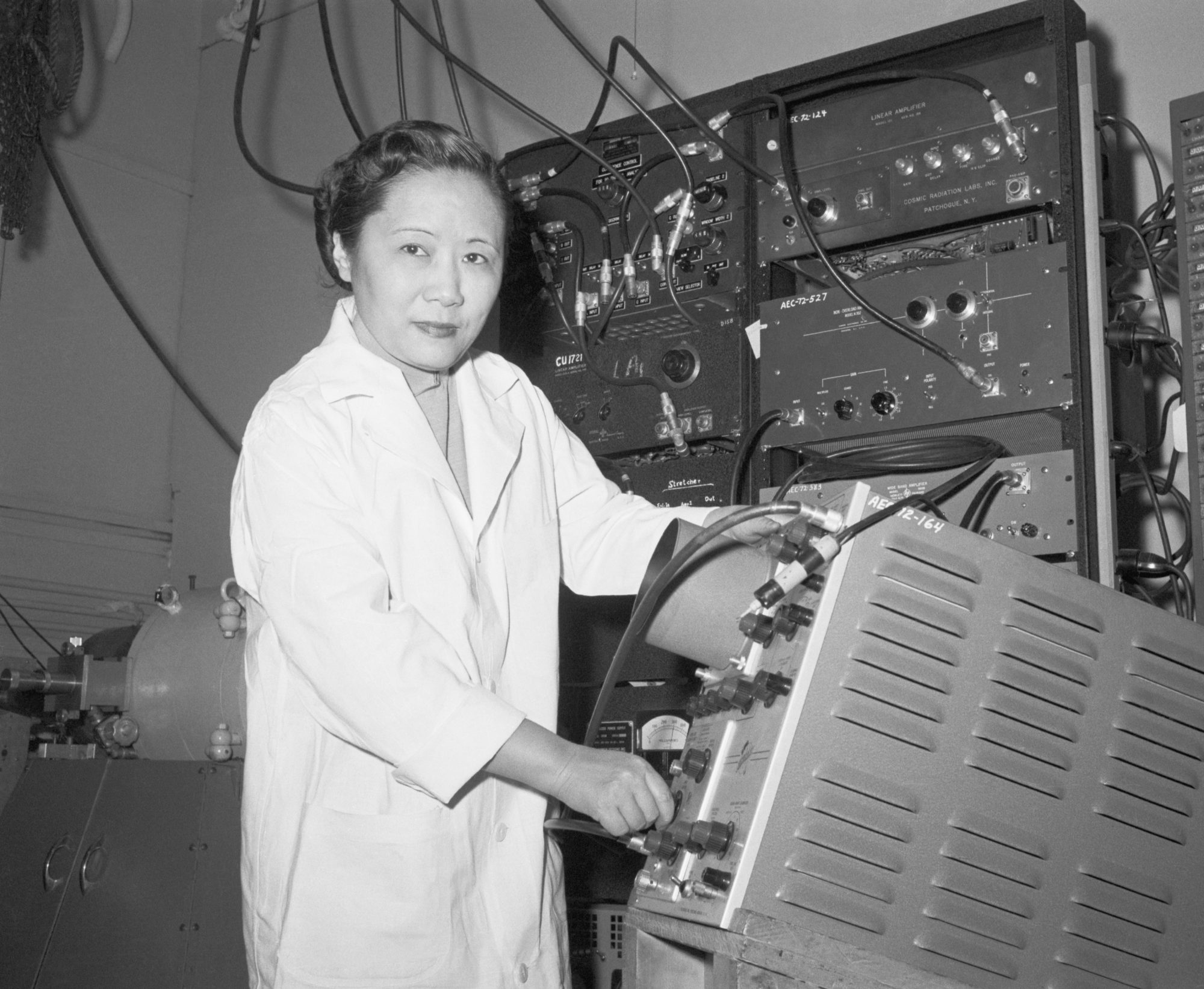 Physics Professor Dr. Chien-Shiung Wu in a laboratory at Columbia University