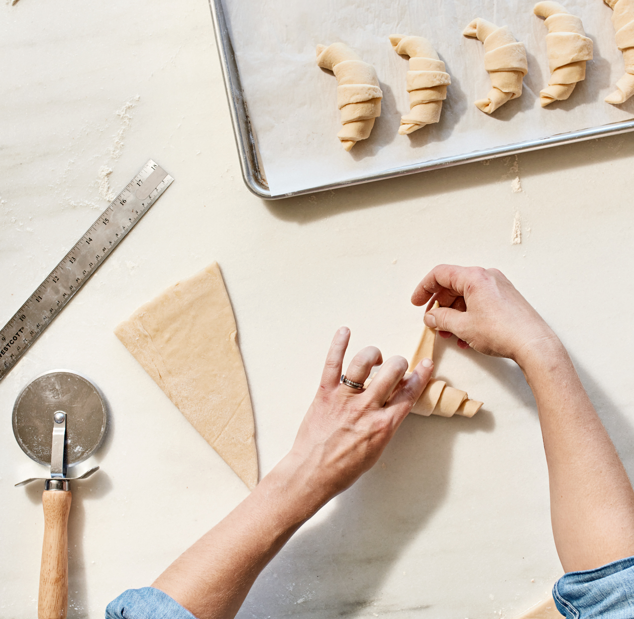 forming croissants