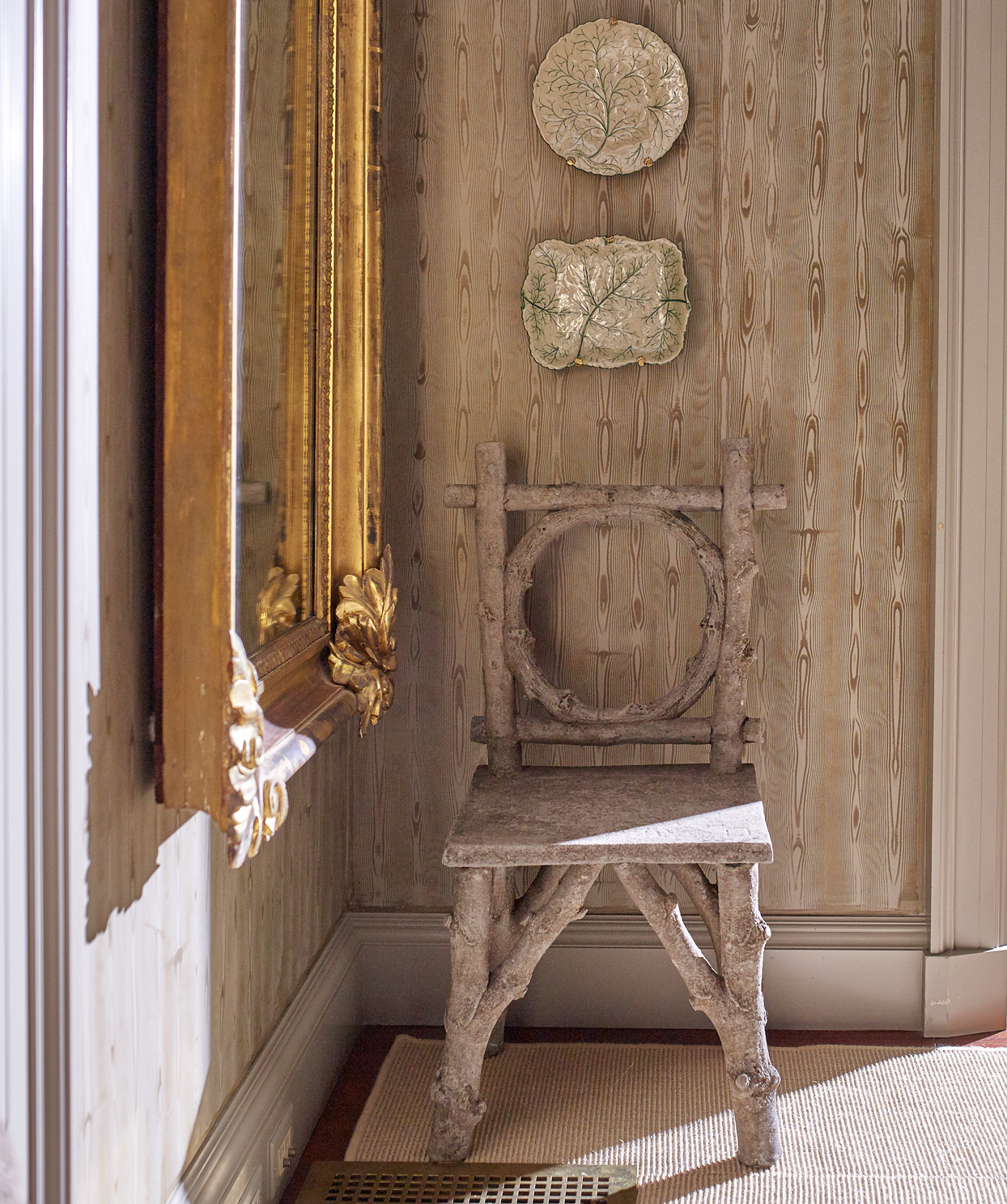 faux bois chair against hand-painted walls