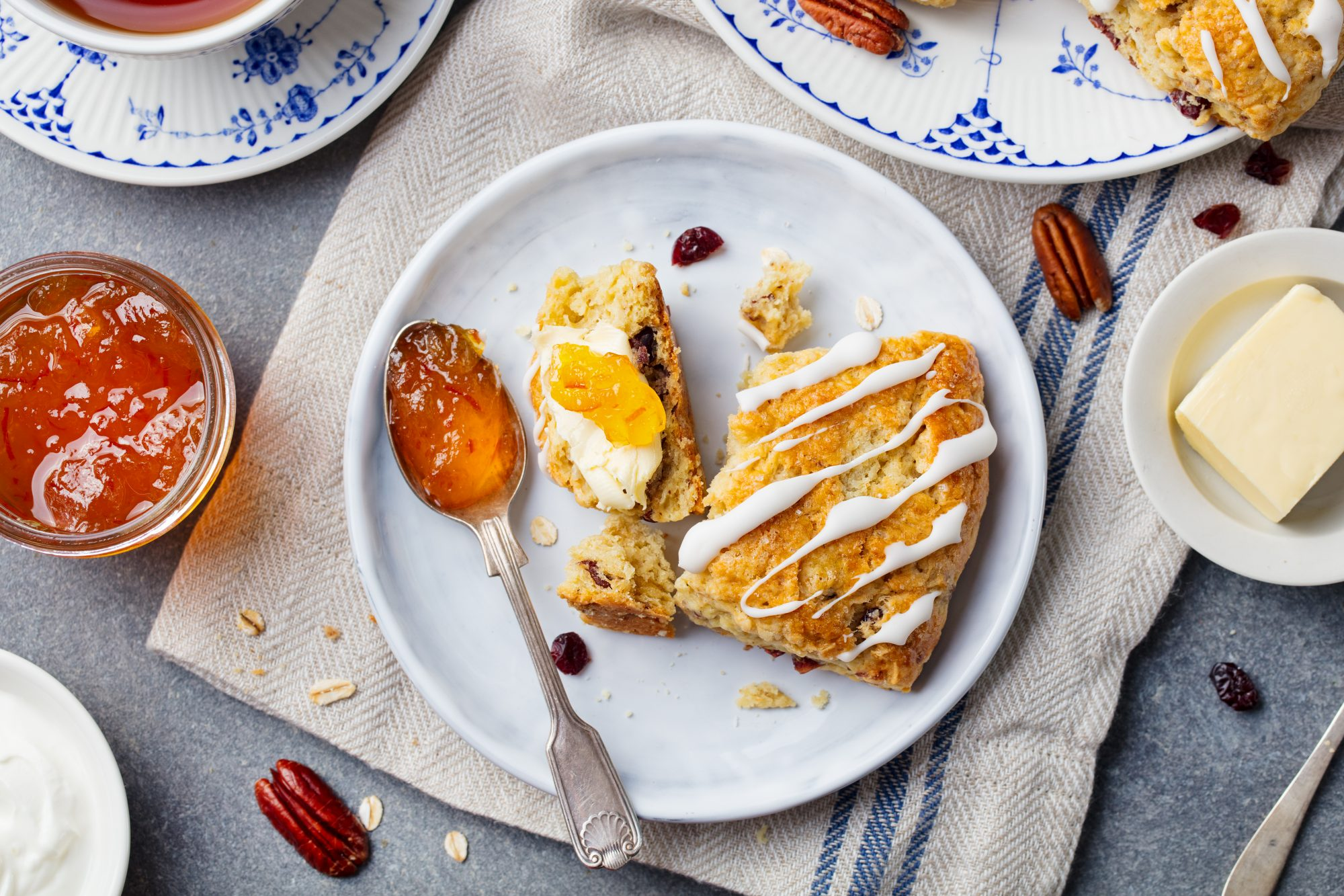 scone with marmalade and butter