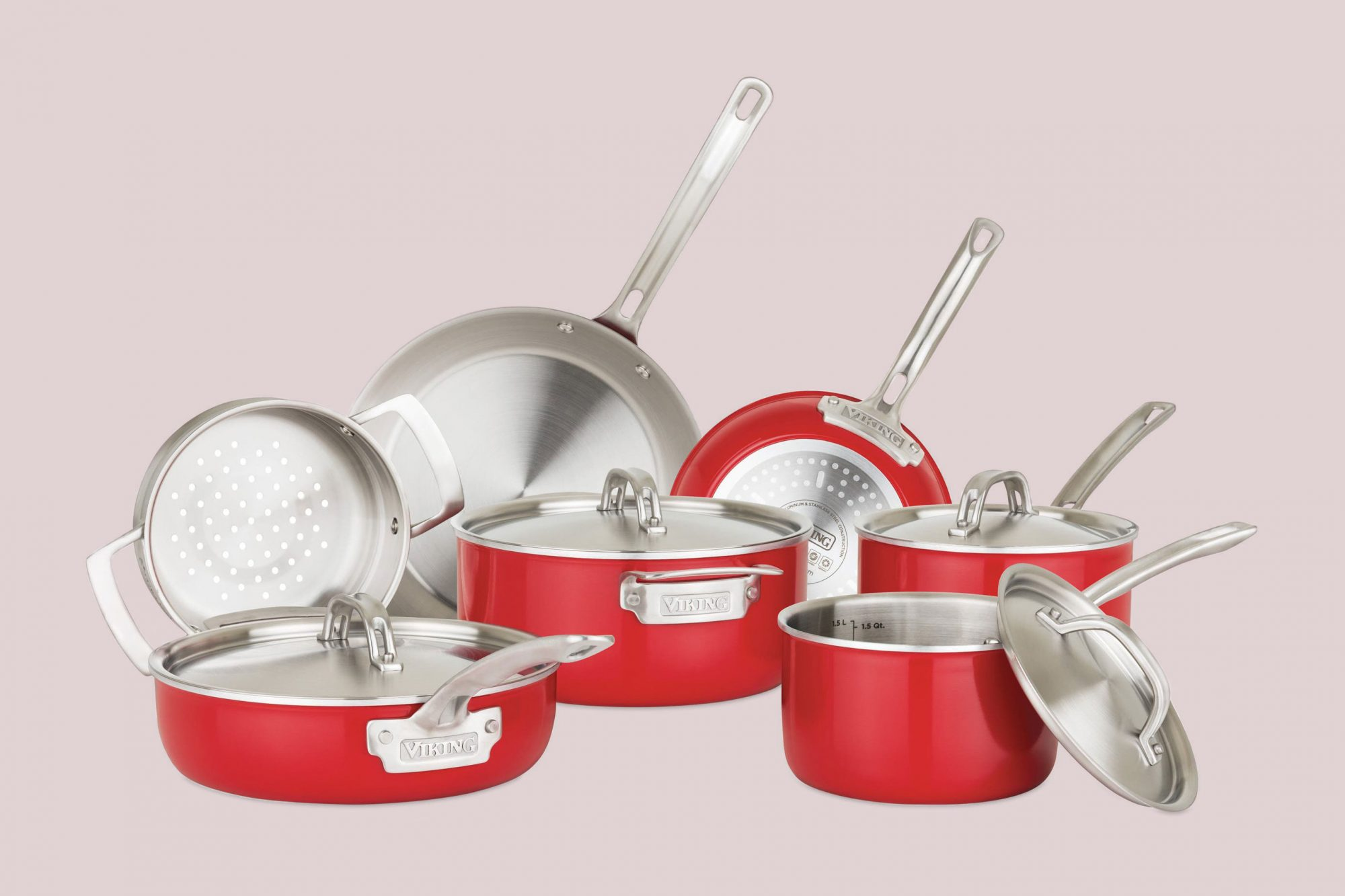 11 piece red viking coookware set