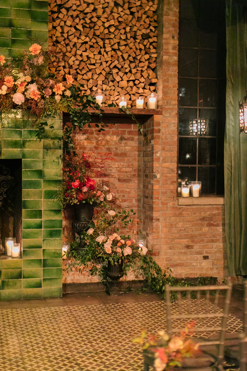 floral decorations on wedding fireside