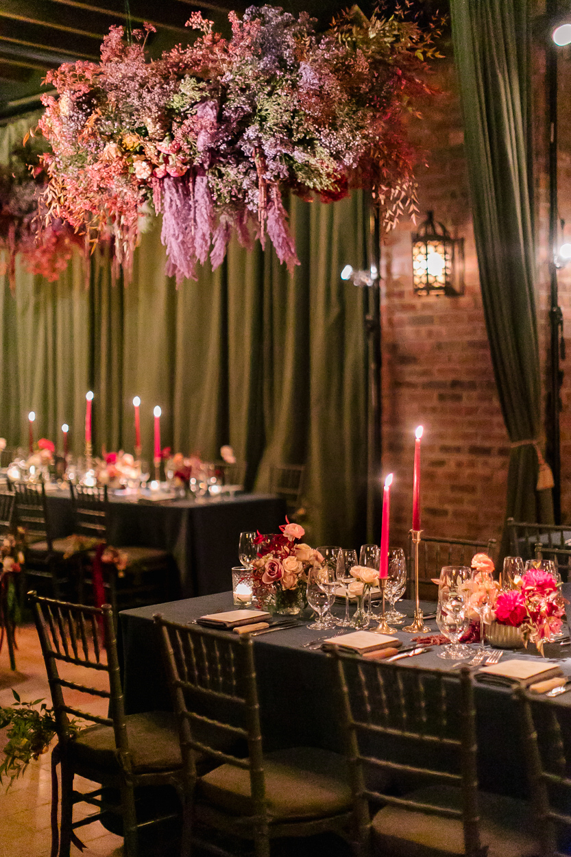 elegant candle lit wedding reception tables