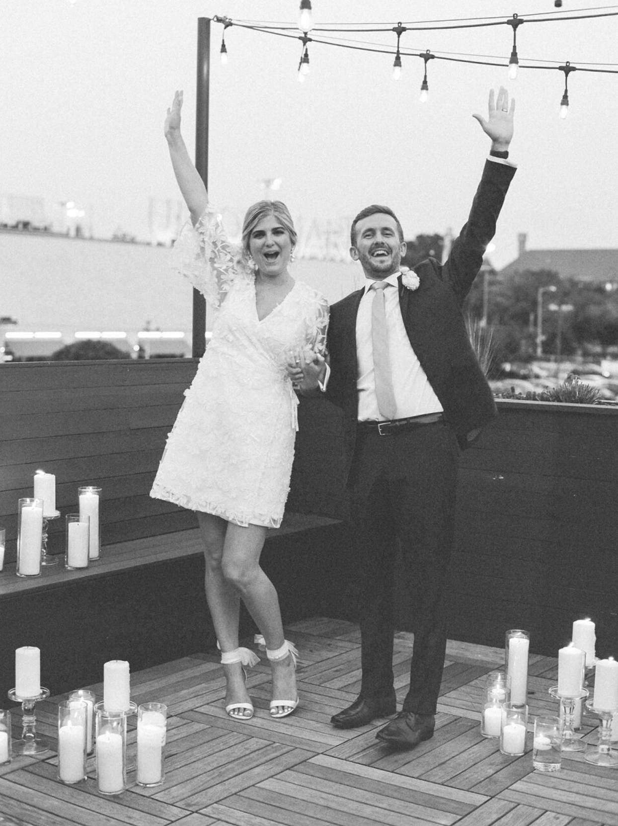 bride and groom celebrate after exchanging vows
