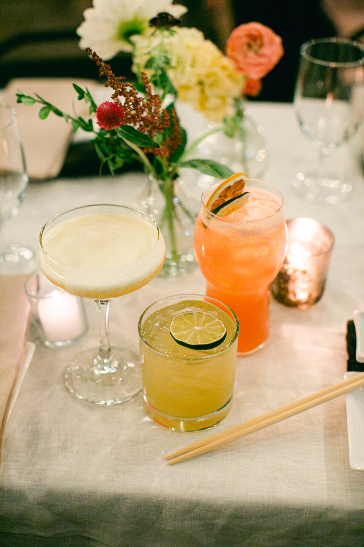 signature cocktails with limes and lemons