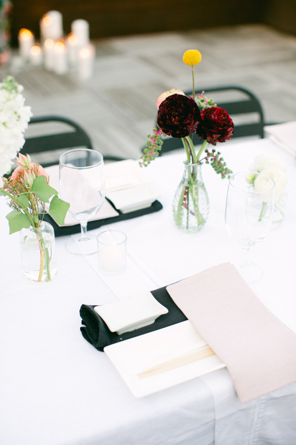 table setting with chopsticks and florals