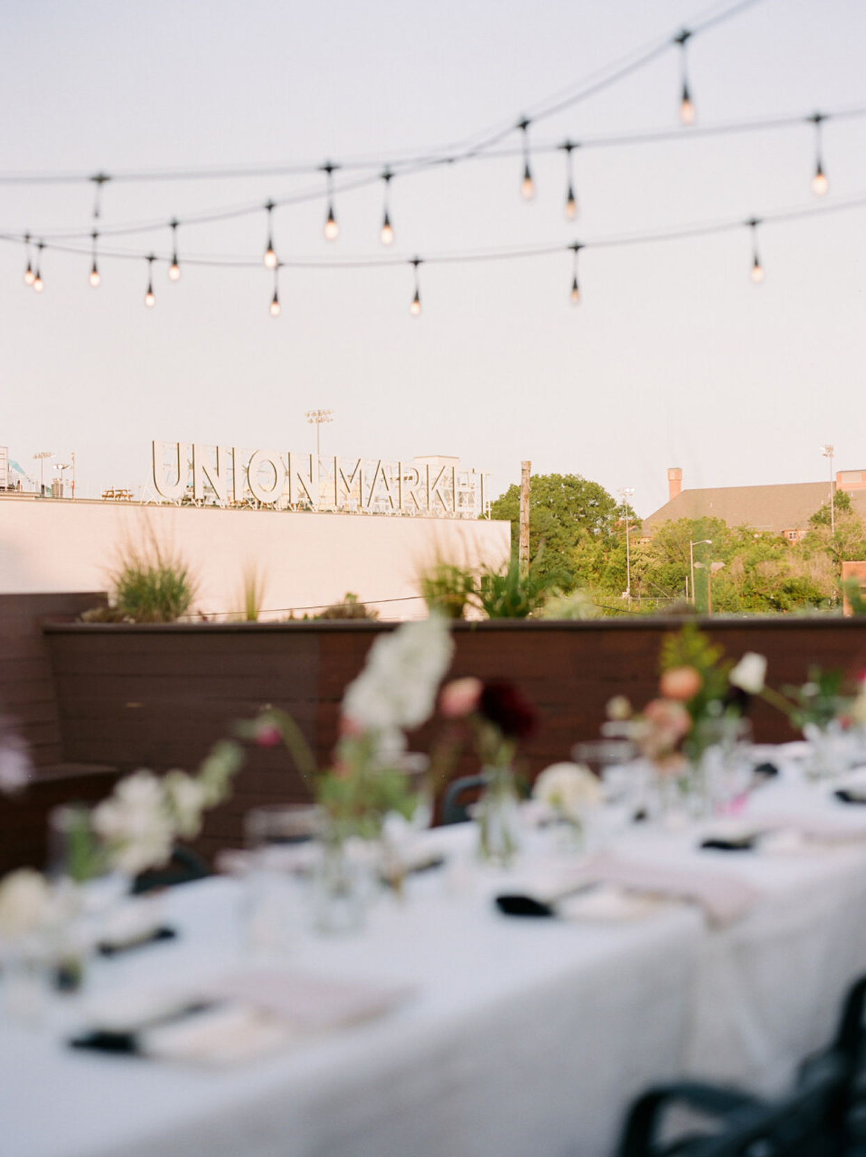 wedding venue rooftop with string lights