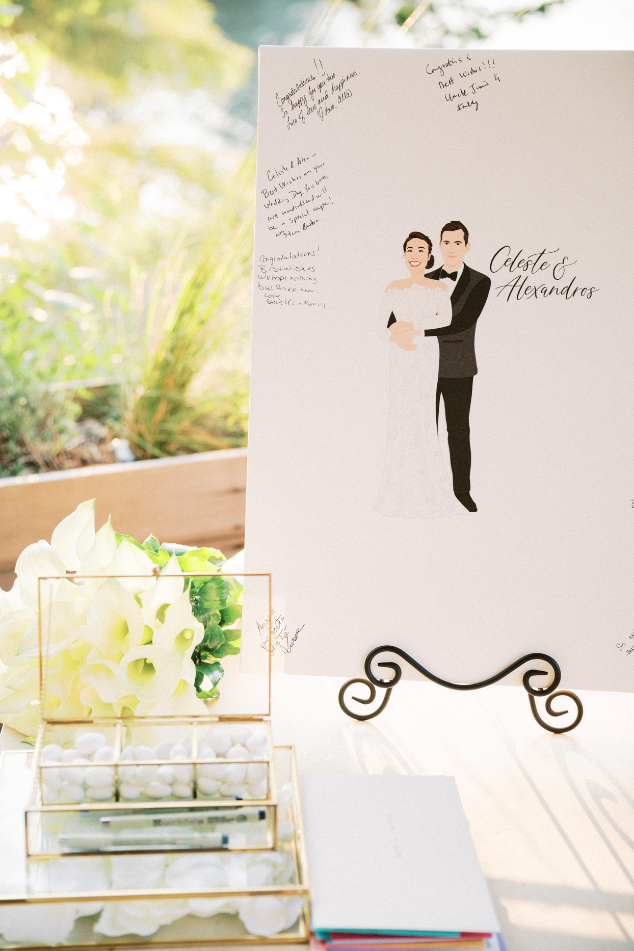 illustrated wedding sign with signatures
