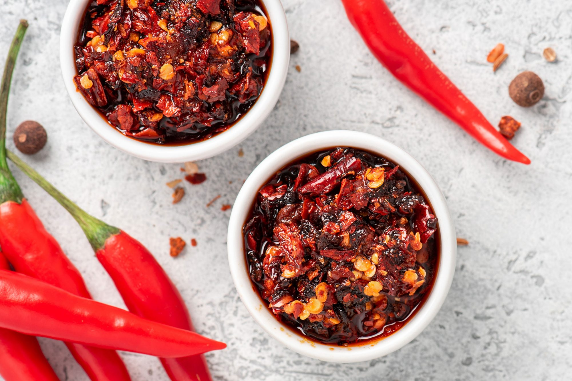 homemade chili oil in small container