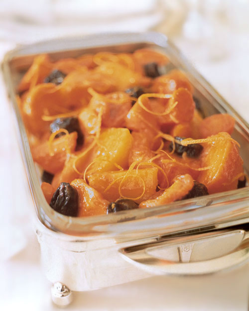 Tzimmes with sweet potatoes, dried apricots, and prunes