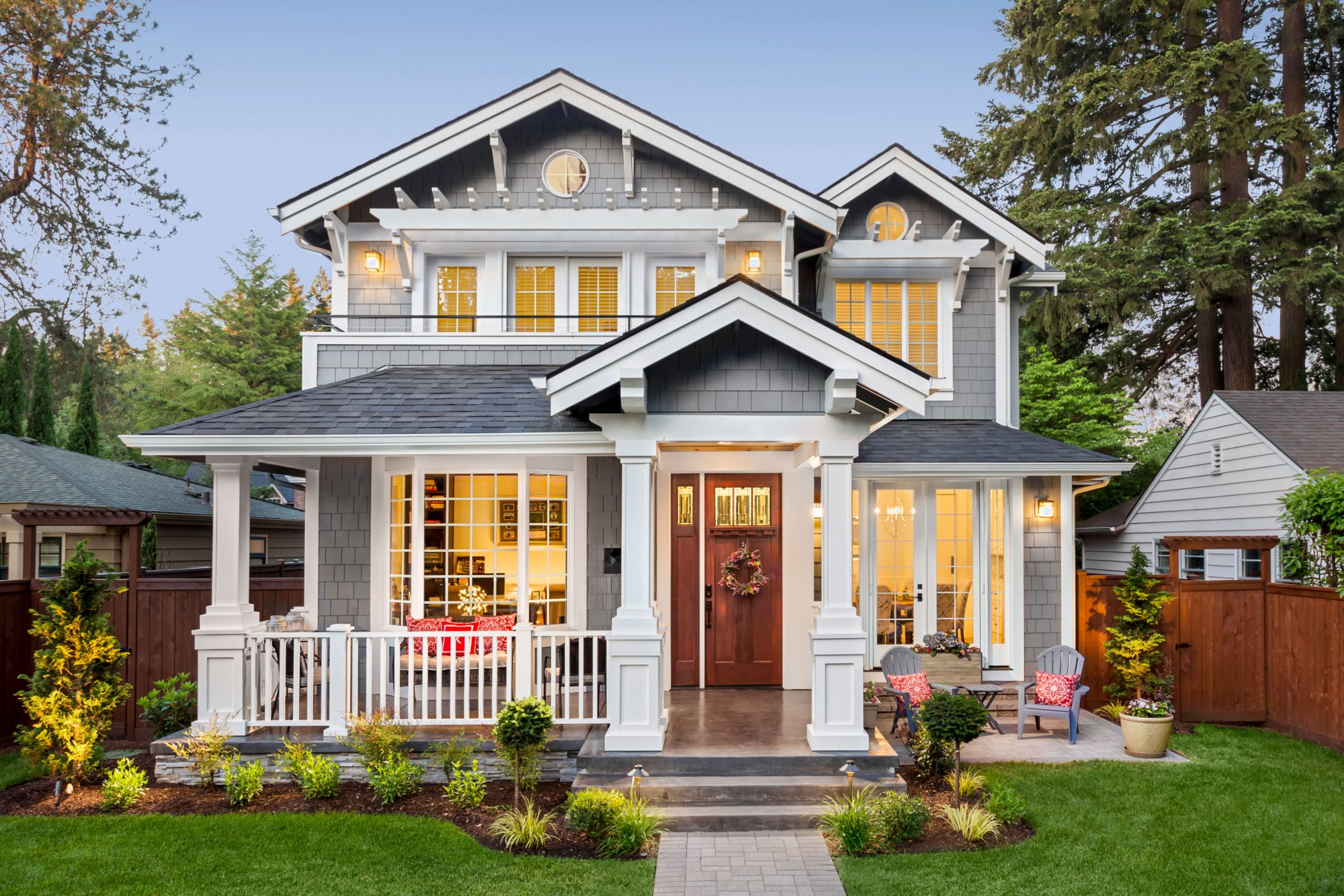 modern home with updated front porch