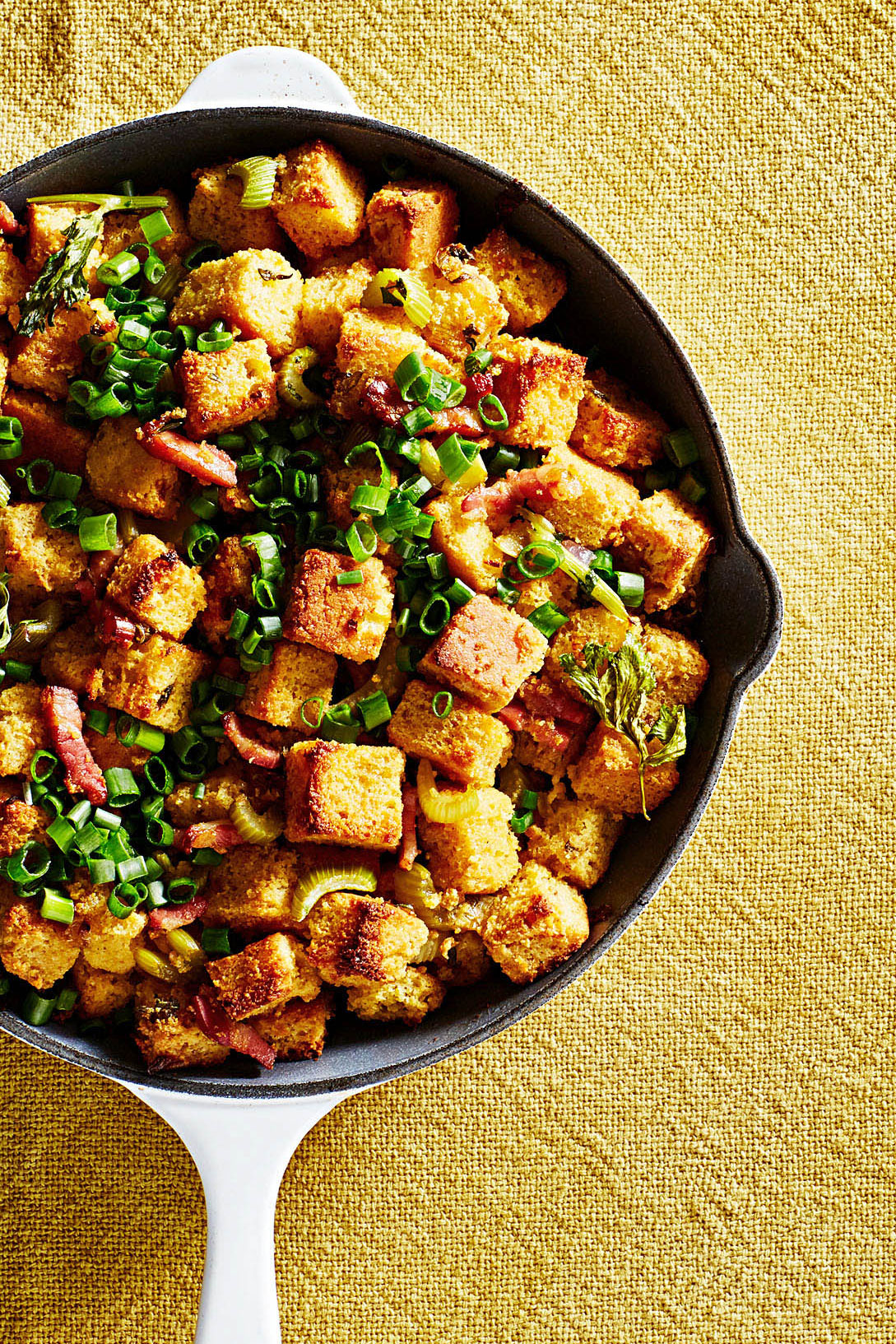 skillet Cornbread Stuffing with Pancetta and Scallions