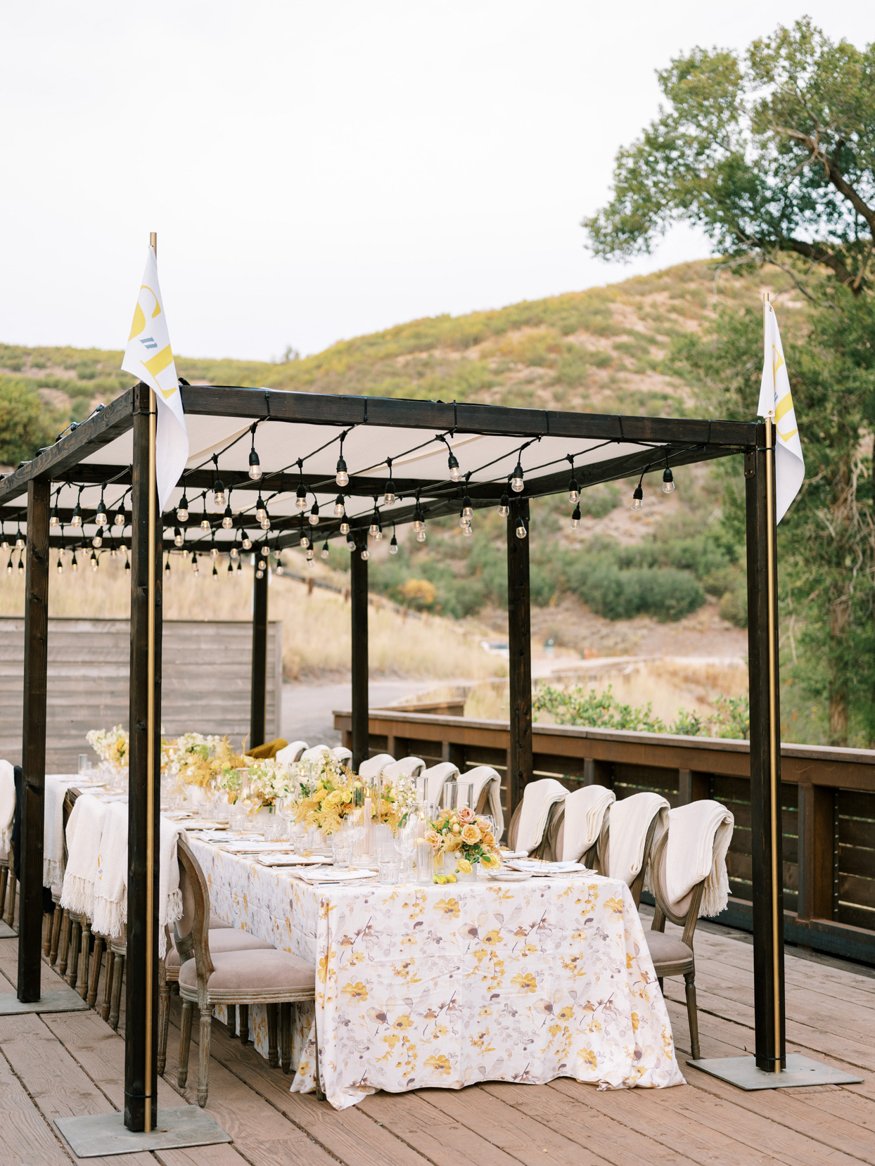 outdoor rehearsal dinner table with earth toned details