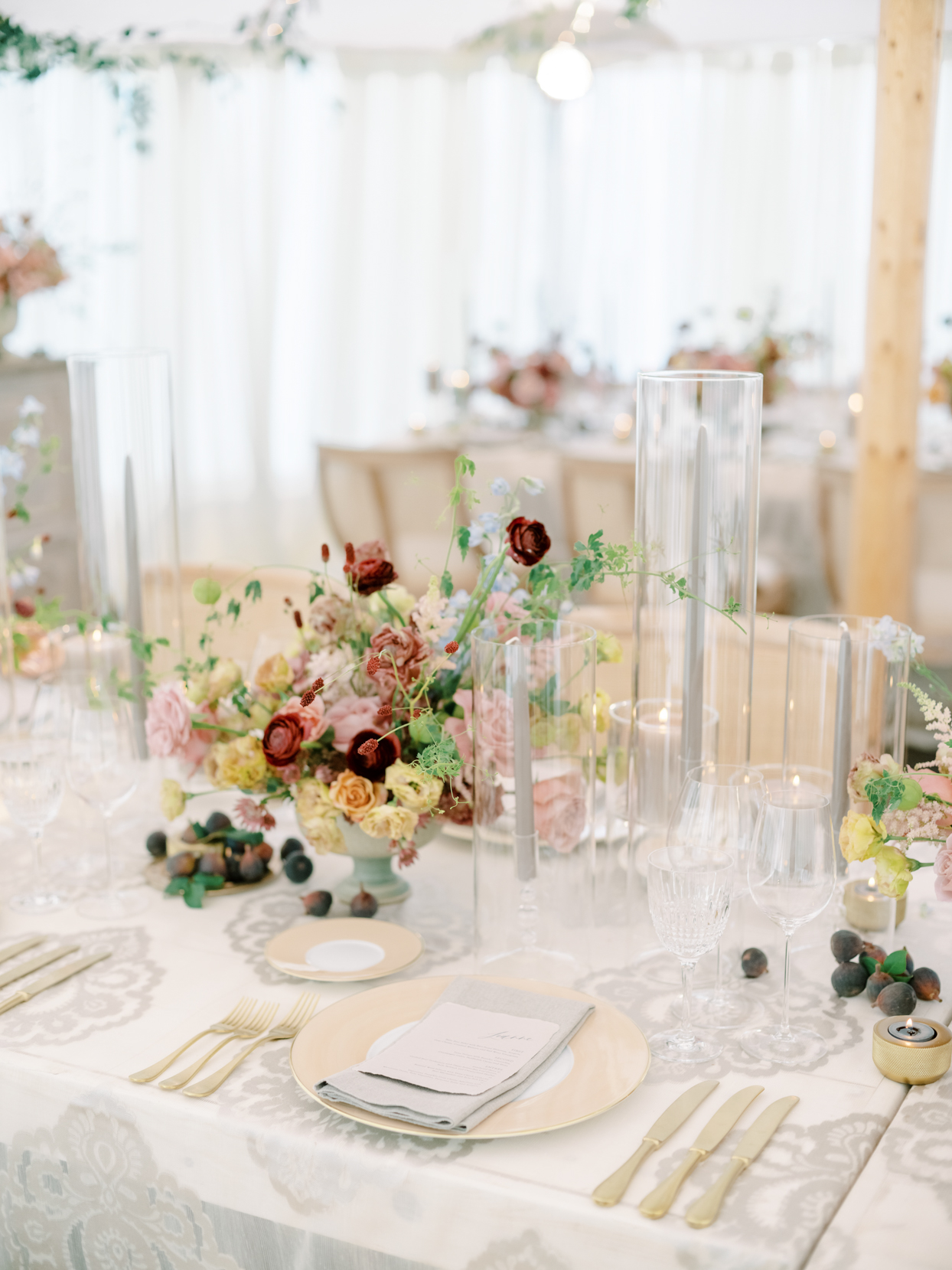 glass and gold wedding reception place settings