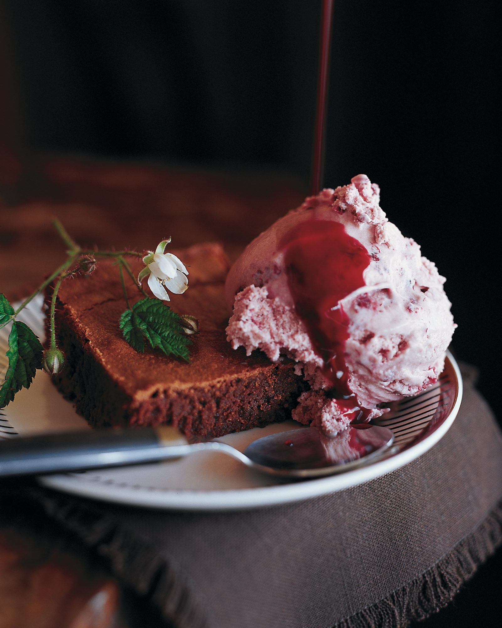 Blackberry Ice Cream with brownie