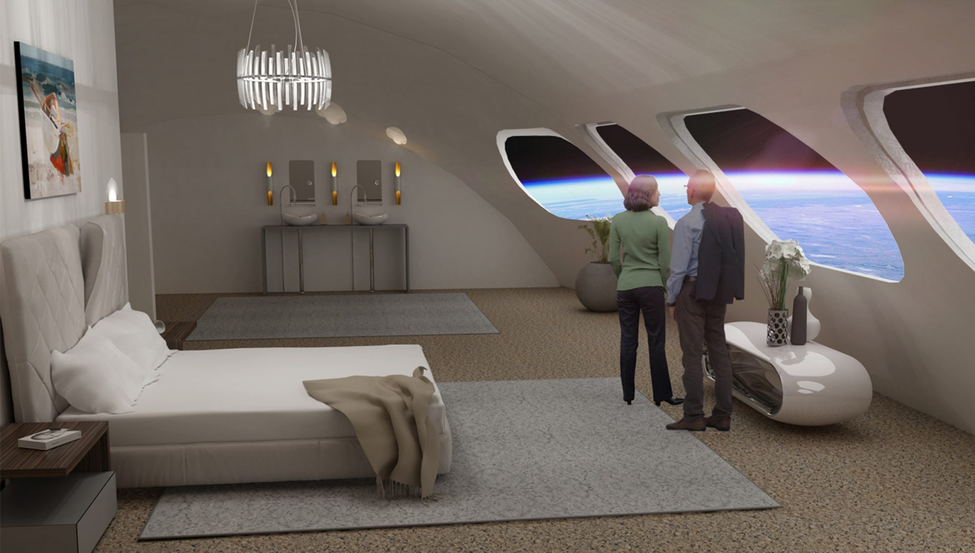 couple in room at voyager station space hotel