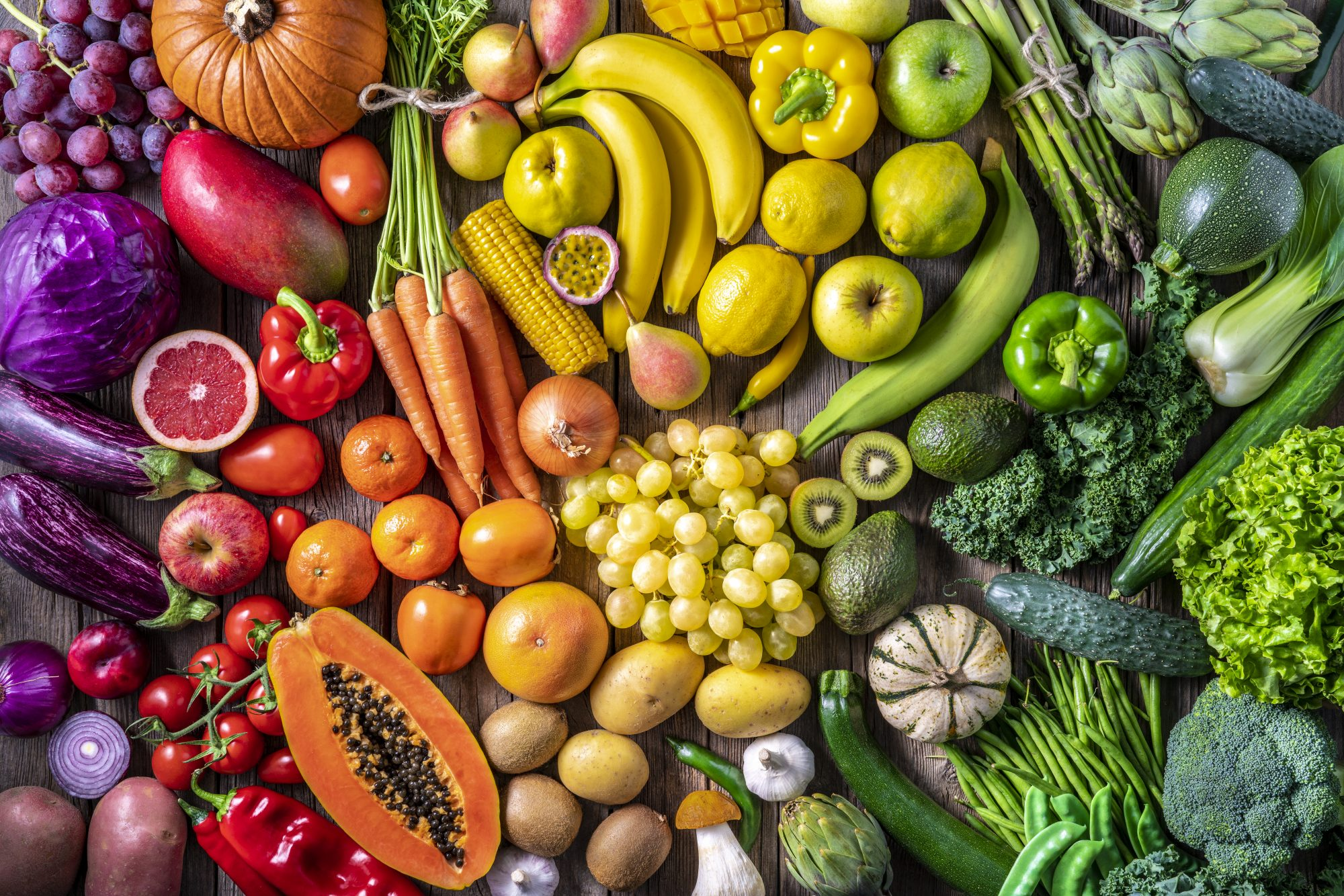 mix of colorful fruits and vegetables