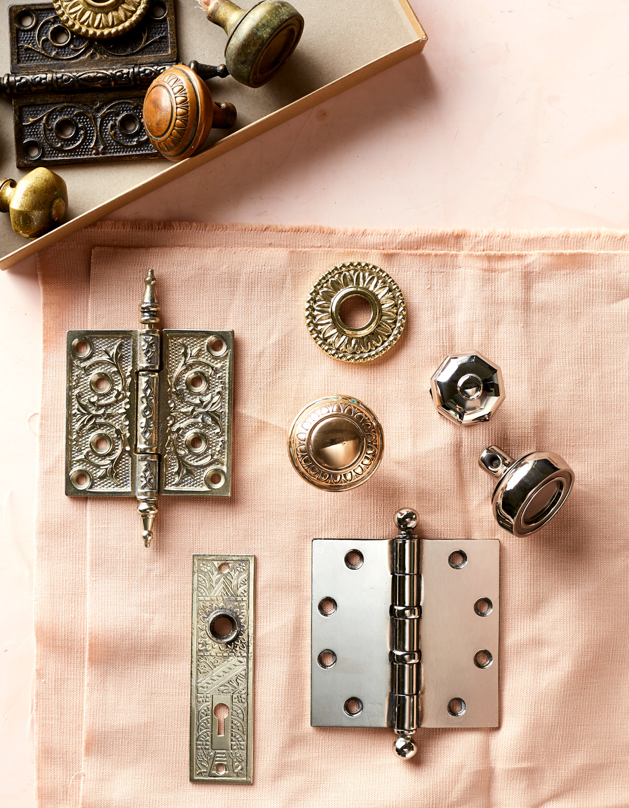 door knobs, hinges, and knockers